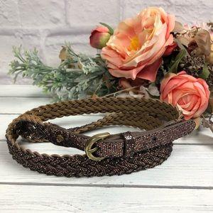 JCrew Braided Bronze Glitter Belt